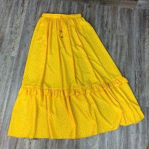 NWOT Shein Yellow White PolkaDot Ruffle Maxi Skirt